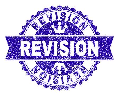 REVISIONE rosetta sigillo filigrana con stile grunge. Progettato con rosetta rotonda, nastro e piccole corone. Filigrana di gomma vettoriale blu del titolo REVISION con stile graffiato.