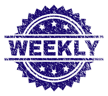 WEEKLY stamp seal watermark with distress style. Blue vector rubber print of WEEKLY label with scratched texture.