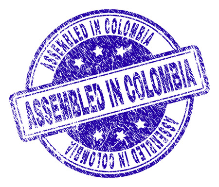 ASSEMBLED IN COLOMBIA stamp seal imprint with distress texture. Designed with rounded rectangles and circles. Blue vector rubber print of ASSEMBLED IN COLOMBIA tag with dirty texture.
