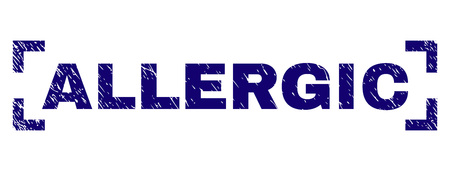 ALLERGIC label seal print with grunge texture. Text tag is placed inside corners. Blue vector rubber print of ALLERGIC with dust texture. Illusztráció