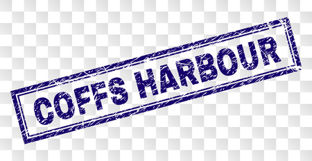 COFFS HARBOUR stamp seal watermark with rubber print style and double framed rectangle shape. Stamp is placed on a transparent background.