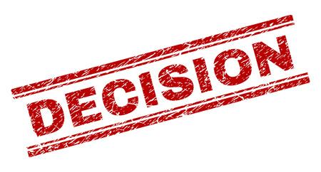 DECISION-Siegelaufdruck mit korrodierter Textur. Roter Vektorgummidruck des DECISION-Etiketts mit korrodierter Textur. Text-Tag wird zwischen doppelten parallelen Linien platziert.