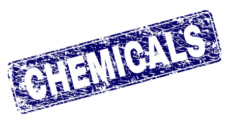 CHEMICALS stamp seal print with grunge style. Seal shape is a rounded rectangle with frame. Blue vector rubber print of CHEMICALS caption with grunge style.