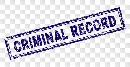 CRIMINAL RECORD timbro sigillo stampa con stile di stampa in gomma e forma rettangolare con doppia cornice. Il timbro è posto su uno sfondo trasparente. Vettoriali
