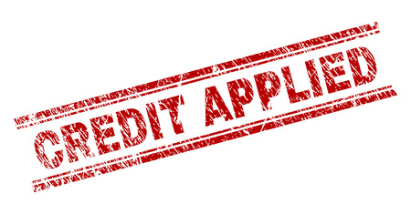 CREDIT APPLIED seal print with distress texture. Red vector rubber print of CREDIT APPLIED title with scratched texture. Text title is placed between double parallel lines.