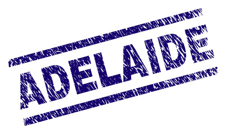 ADELAIDE seal stamp with grunge style. Blue vector rubber print of ADELAIDE label with dust texture. Text label is placed between parallel lines. Illustration