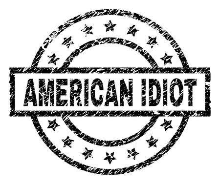 AMERICAN IDIOT stamp seal watermark with distress style. Designed with rectangle, circles and stars. Black vector rubber print of AMERICAN IDIOT title with retro texture. Vektoros illusztráció