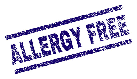 ALLERGY FREE seal stamp with grunge style. Blue vector rubber print of ALLERGY FREE caption with grunge texture. Text caption is placed between parallel lines.