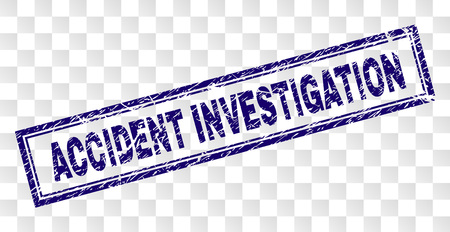 ACCIDENT INVESTIGATION stamp seal print with scratched style and double framed rectangle shape. Stamp is placed on a transparent background. Ilustrace