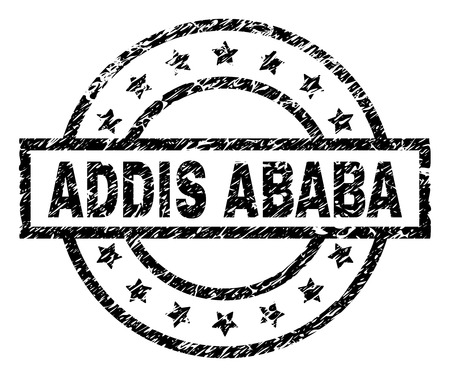 ADDIS ABABA stamp seal watermark with distress style. Designed with rectangle, circles and stars. Black vector rubber print of ADDIS ABABA title with corroded texture.