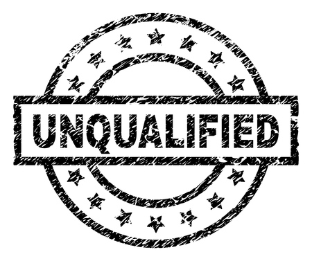 UNQUALIFIED stamp seal watermark with distress style. Designed with rectangle, circles and stars. Black vector rubber print of UNQUALIFIED text with retro texture.