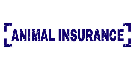ANIMAL INSURANCE caption seal imprint with corroded texture. Text title is placed between corners. Blue vector rubber print of ANIMAL INSURANCE with corroded texture.