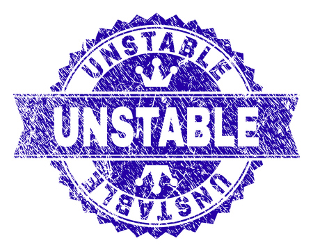 UNSTABLE rosette seal watermark with grunge texture. Designed with round rosette, ribbon and small crowns. Blue vector rubber watermark of UNSTABLE label with corroded style.
