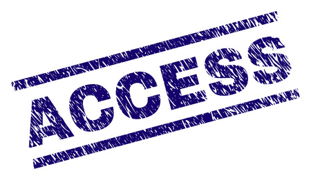 ACCESS seal print with distress style. Blue vector rubber print of ACCESS text with unclean texture. Text tag is placed between parallel lines.