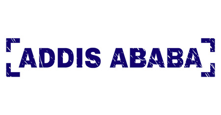 ADDIS ABABA text seal print with distress effect. Text caption is placed inside corners. Blue vector rubber print of ADDIS ABABA with unclean texture. Illustration
