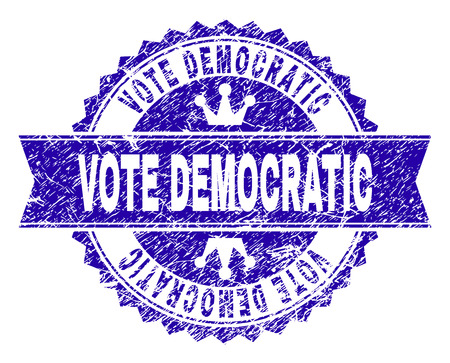 VOTE DEMOCRATIC rosette seal watermark with grunge effect. Designed with round rosette, ribbon and small crowns. Blue vector rubber watermark of VOTE DEMOCRATIC text with corroded style.