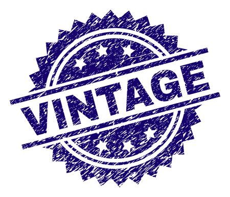VINTAGE stamp seal watermark with distress style. Blue vector rubber print of VINTAGE text with grunge texture.