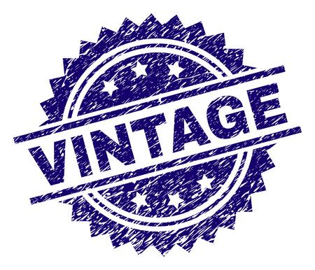 VINTAGE Stempelsiegel-Wasserzeichen im Distress-Stil. Blauer Vektorgummidruck von VINTAGE-Text mit Grunge-Textur.