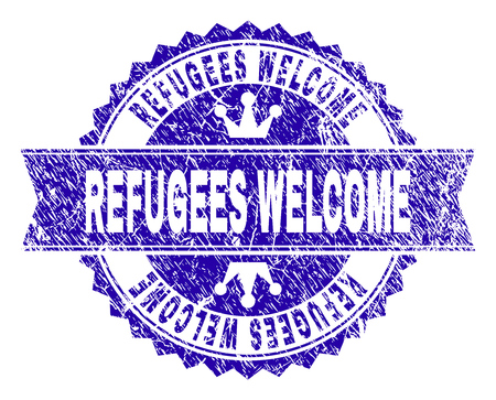 REFUGEES WELCOME rosette stamp seal imitation with grunge style. Designed with round rosette, ribbon and small crowns. Blue vector rubber print of REFUGEES WELCOME tag with unclean style.