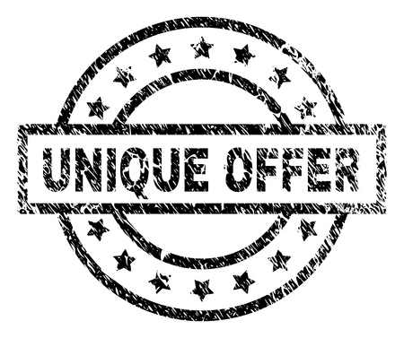 UNIQUE OFFER stamp seal watermark with distress style. Designed with rectangle, circles and stars. Black vector rubber print of UNIQUE OFFER text with grunge texture.