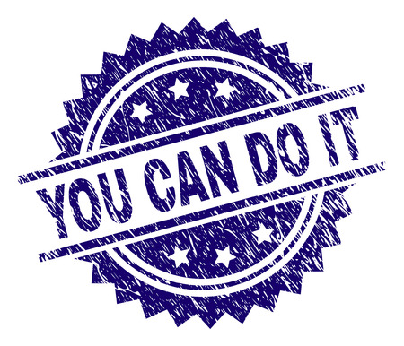 YOU CAN DO IT stamp seal watermark with distress style. Blue vector rubber print of YOU CAN DO IT text with retro texture.