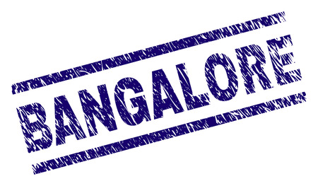 BANGALORE seal print with grunge style. Blue vector rubber print of BANGALORE text with dirty texture. Text tag is placed between parallel lines.