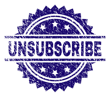 UNSUBSCRIBE stamp seal watermark with distress style. Blue vector rubber print of UNSUBSCRIBE title with scratched texture. Stock Illustratie