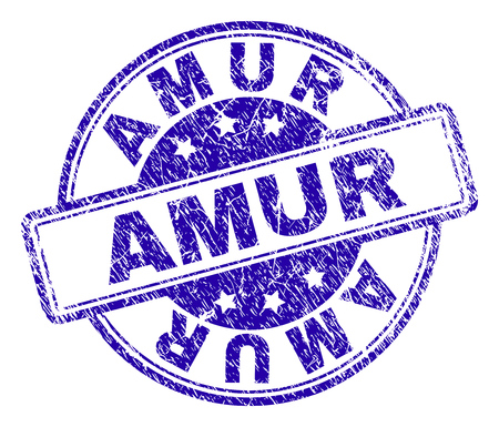AMUR stamp seal imprint with grunge texture. Designed with rounded rectangles and circles. Blue vector rubber print of AMUR text with grunge texture.
