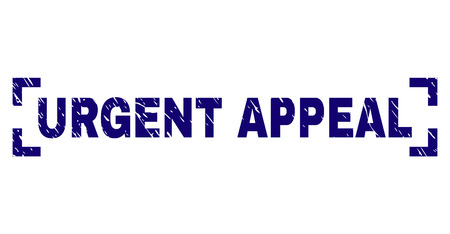 URGENT APPEAL text seal print with grunge style. Text caption is placed between corners. Blue vector rubber print of URGENT APPEAL with grunge texture.