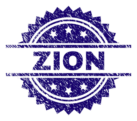 ZION stamp seal watermark with distress style. Blue vector rubber print of ZION label with dust texture.