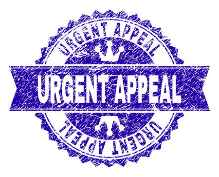 URGENT APPEAL rosette stamp seal watermark with grunge texture. Designed with round rosette, ribbon and small crowns. Blue vector rubber watermark of URGENT APPEAL tag with dirty texture.