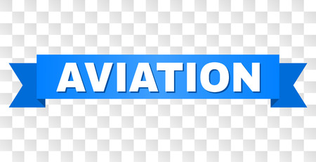 AVIATION text on a ribbon. Designed with white title and blue tape. Vector banner with AVIATION tag on a transparent background.