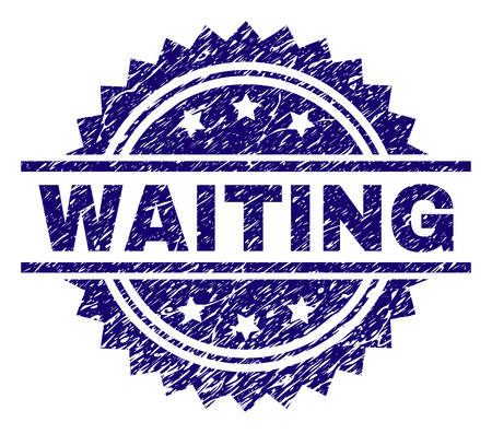 WAITING stamp seal watermark with distress style. Blue vector rubber print of WAITING tag with dust texture.