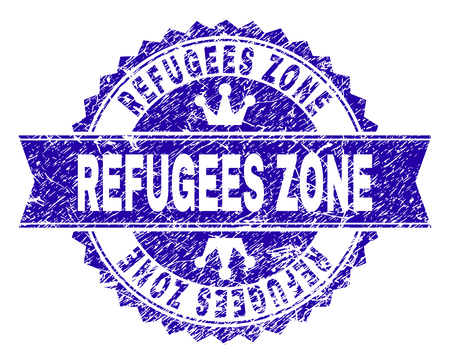 REFUGEES ZONE rosette stamp seal watermark with grunge texture. Designed with round rosette, ribbon and small crowns. Blue vector rubber watermark of REFUGEES ZONE tag with dust texture.