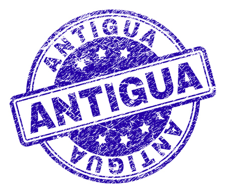ANTIGUA stamp seal imprint with grunge effect. Designed with rounded rectangles and circles. Blue vector rubber print of ANTIGUA title with grunge texture.