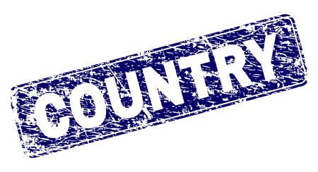 COUNTRY stamp seal print with grunge style. Seal shape is a rounded rectangle with frame. Blue vector rubber print of COUNTRY text with scratched style. 일러스트