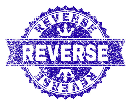 REVERSE rosette seal overlay with distress texture. Designed with round rosette, ribbon and small crowns. Blue vector rubber watermark of REVERSE title with scratched texture. Çizim