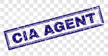 CIA AGENT stamp seal watermark with rubber print style and double framed rectangle shape. Stamp is placed on a transparent background. Blue vector rubber print of CIA AGENT title with dust texture.
