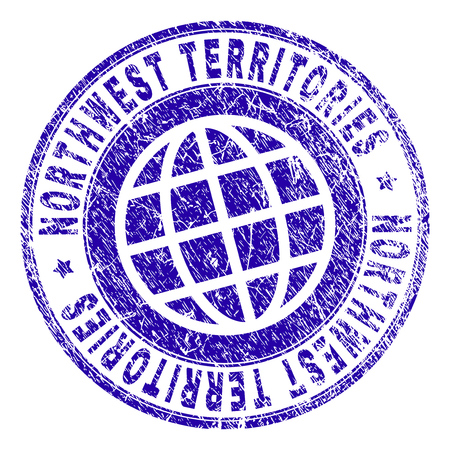 NORTHWEST TERRITORIES stamp imprint with distress texture. Blue vector rubber seal imprint of NORTHWEST TERRITORIES label with dirty texture. Seal has words arranged by circle and planet symbol.
