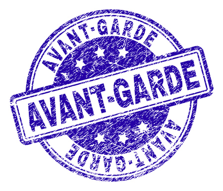 AVANT-GARDE stamp seal imprint with grunge effect. Designed with rounded rectangles and circles. Blue vector rubber print of AVANT-GARDE title with grunge texture.