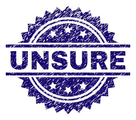 UNSURE stamp seal watermark with distress style. Blue vector rubber print of UNSURE text with scratched texture.