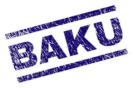 BAKU seal print with grunge style. Blue vector rubber print of BAKU caption with dirty texture. Text tag is placed between parallel lines.