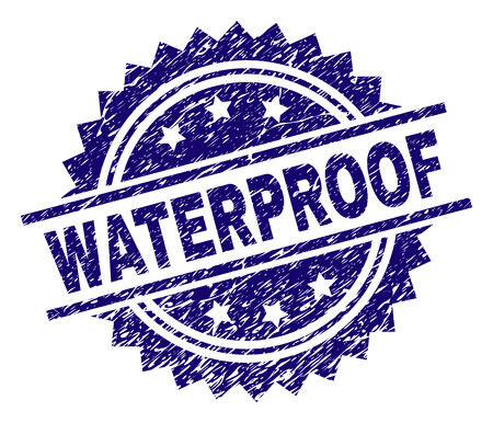 WATERPROOF stamp seal watermark with distress style. Blue vector rubber print of WATERPROOF tag with grunge texture.