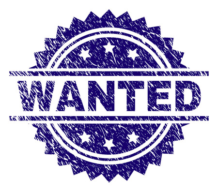 WANTED stamp seal watermark with distress style. Blue vector rubber print of WANTED tag with dirty texture.