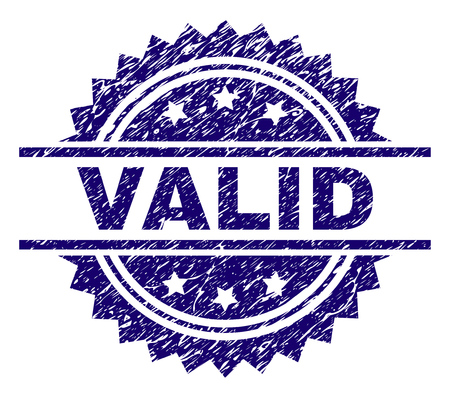 VALID stamp seal watermark with distress style. Blue vector rubber print of VALID caption with dirty texture.