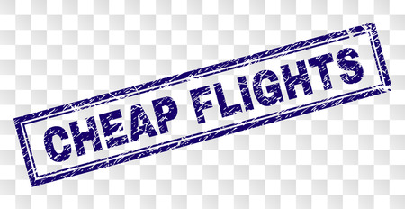 CHEAP FLIGHTS stamp seal print with rubber print style and double framed rectangle shape. Stamp is placed on a transparent background.