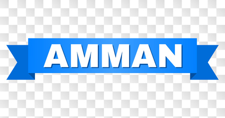 AMMAN text on a ribbon. Designed with white title and blue stripe. Vector banner with AMMAN tag on a transparent background.