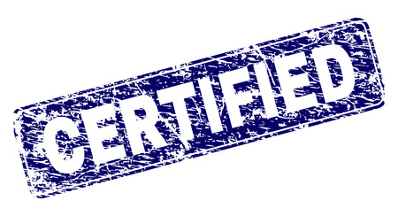CERTIFIED stamp seal print with distress texture. Seal shape is a rounded rectangle with frame. Blue vector rubber print of CERTIFIED title with dirty style.