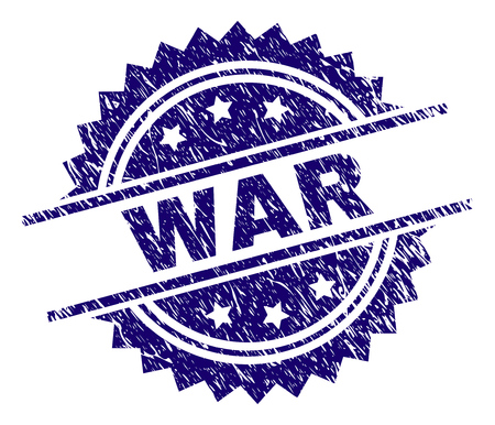 WAR stamp seal watermark with distress style. Blue vector rubber print of WAR title with scratched texture.