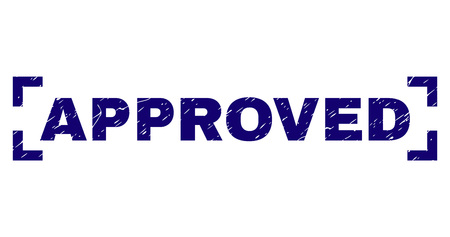 APPROVED tag seal stamp with distress texture. Text tag is placed between corners. Blue vector rubber print of APPROVED with dust texture.